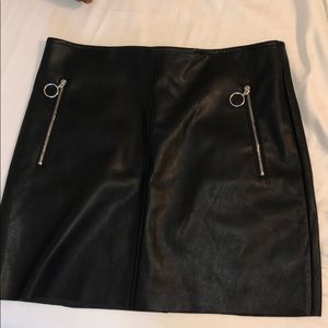 Forever 21 leather black skirt with zipper pockets